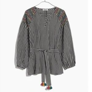 Madewell || Smocked Gingham Top with Tassel Tie